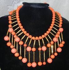 Vintage Book Chain Coral  Plastic Lucite Briolette Bib Necklace Earrings Set