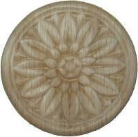 "OAK Embossed Wood Ornament 3 1/2"" Rosette   W35799"