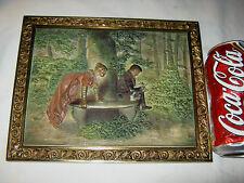 Antique B&H Bradley Hubbard Cast Iron Scenic Garden Oil Painting Wall Art Plaque