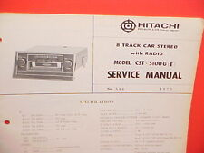 1973 HITACHI 8-TRACK TAPE/AM RADIO FACTORY SERVICE MANUAL MODELS CST-5100G 5100E