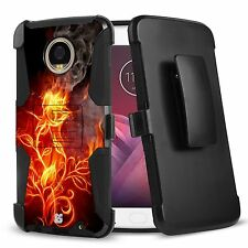 For MOTO Z2 Force, Z2 Play Hybrid Armor Clip Shock Fusion Case Fire Storm