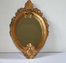 VINTAGE ITALIAN GOLD LEAF FLORENTINE CARVED WOOD WALL MIRROR OR VANITY TRAY