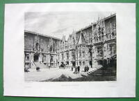 ORIGINAL ETCHING Print by Toussaint - France Rouen Courthouse Palace of Justice