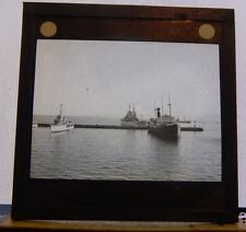 Antique Glass Magic slide Merchant  Ships And Navy Ships Gibraltar 1930's