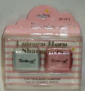 2 Pack Creme Shop Unicorn Horn Sharpeners For All Cosmetic Pencils White & Pink