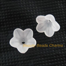 60 New Charms Acrylic Plastic Flower Spacer End Bead Caps White 10mm