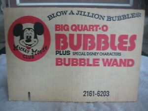 Vintage Mickey Mouse Club Bubble Fun CHEMTOY 1976 Cardboard Display Backing NICE