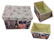 Storage Box with Lid Upholstered Paris Box Organizer 38x26x26 Flax