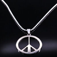 Peace Sign Symbol Pendant Necklaces Men Women Stainless Steel Chain Jewelry