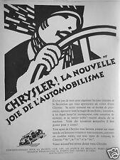 PUBLICITÉ 1927 CHRYSLER ! LA NOUVELLE JOIE DE L'AUTOMOBILISTE - ADVERTISING