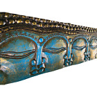 Infinite Faces Buddha Wall Sculpture Panel Hand Carved Bali art Turquoise