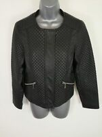 WOMEN'S MARKS & SPENCERS BLACK FAUX LEATHER QUILTED ZIP UP LEATHER JACKET UK 12