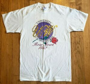 Vintage (1992) UNIVERSITY OF WASHINGTON HUSKIES Rose Bowl '92 football T-SHIRT