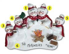Personalized Snowman Camping Family of 5 Christmas Ornament