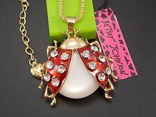 Betsey Johnson Cute fashion inlay Crystal ladybug Pendant Necklace #C279