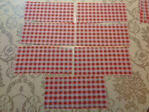 CATH KIDSTON COTTON FABRIC ROSALIE CHECK BLUE RED 7 piece 20cm 8cm