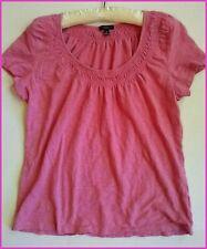 Talbots Pink Cotton Knit Shirt Medium Womens Short Sleeve Ruched Neckline
