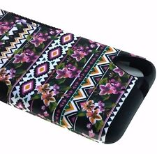 For HTC Desire 530 - HARD&SOFT RUBBER HYBRID ARMOR CASE COVER PINK BLACK FLOWERS