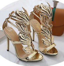 Women's Stilettos Ankle Strapy Pumps Open Toe high Top Shoes Golden Wings Shoes