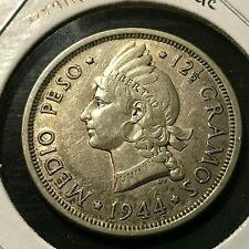 1944 DOMINICAN REPUBLIC SILVER 1/2 PESO HIGH GRADE COIN SCARCE