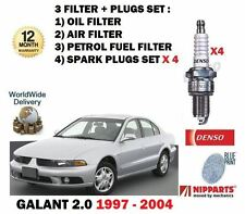 FOR MITSUBISHI GALANT 2.0 1997-2004 OIL AIR FUEL 3 FILTER KIT + SPARK PLUG SET