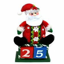 Novelty Advent Christmas Calendar Wooden Block Santa Theme Xmas Home Decorations