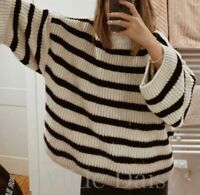 ZARA NEW BLACK WHITE STRIPED JUMPER SWEATER OVERSIZED KNIT LOOSE FIT SIZE S/M