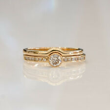 Solitaire 4.5mm Diamond Ring and Wedding Band Set
