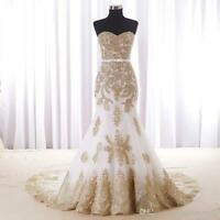 White And Gold Lace Mermaid Wedding Dresses Real Photo Sweetheart Bridal Gown