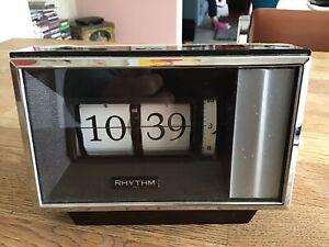 Retro Wind Up RHYTHM Flip Alarm Clock Made In Japan Circa 1970