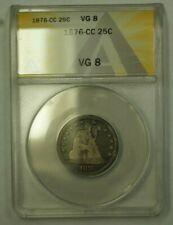 1876-CC Seated Liberty Quarter ANACS VG-8 (24)