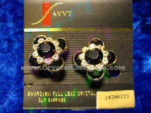 Swarovski Savvy Gold / Black Flower Clip Earrings 1434612 w/orig Savvy Card