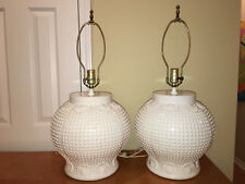 Pair Of Tyndale Table Lamps White Round Hobnail with Sea Shell Details 3Way
