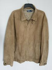 POLO Ralph Lauren Mens Genuine Goat Fine Suede Harrington Bomber Jacket Size 2XL