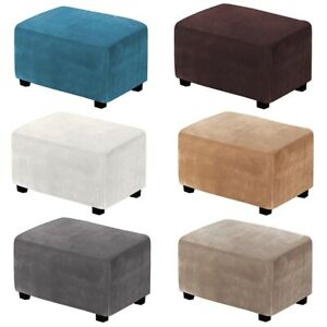 Foot Stool Slipcover Rectangle Ottoman Cover Elastic Footstool Cover Slip Cover