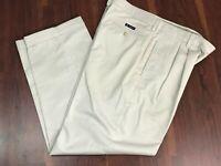 Chaps Men's Chinos Khakis Pants Light Tan Pleated Front Cuffed Hems 34 x 29