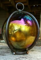 VNTG Caged Carnival Glass Ball Light Fixture Mid Century Primitive Gothic Decor