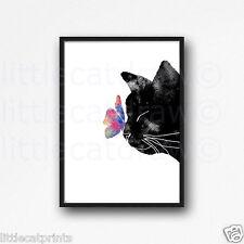 Black Peeking Cat Rainbow Butterfly Watercolour Painting PRINT 8x10 Art B2G1F