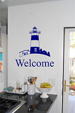 Lighthouse & Welcome Wall Sticker Wall Art Vinyl Decals Kitchen Lakehouse Beach