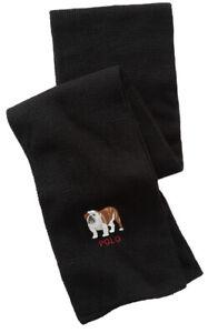 NWT - Polo Ralph Lauren Black Bulldog Scarf Cotton Wool Blend