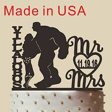 """Personalized Silhouette Wedding Cake topper,Wonder Woman and Hulk,Made in USA 5"""""""
