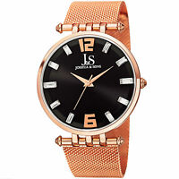 New Men's Joshua & Sons JS90RG Swiss Quartz Crystal Dial Rose-tone SS Mesh Watch