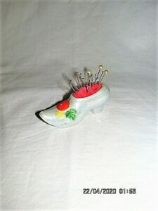 VTG GRAY LUSTERWARE VICTORIAN STYLE BOOT PIN CUSHION + PINS MADE IN JAPAN SEWING