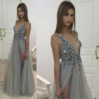 Sleeveless Tulle Evening Dresses Crystals V Neck Prom Gown Pageant Dress Custom