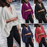 VONDA Women Plus Size Loose Batwing Sleeve Solid Hips Tops Blouse T-Shirt Casual