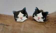 New Enamel Black & White Tuxedo Feline Kitty Cat Kitten Post Pierced Earrings