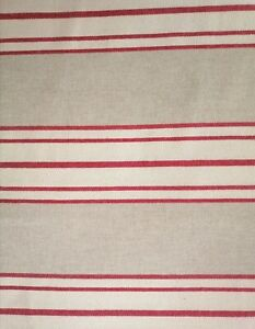 French Linen Furnishing Fabric Red/Natural Stripe SABINA 280cm Wide by the Metre