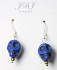 Halloween Skull Goth Charm Earrings Sterling Silver 925 Hook Dark Blue Costume