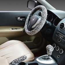3Pcs Steering Wheel Cover For Women Sets Leopard Plush Hand Brake+Stop Lever
