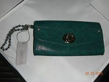 "Purse/Handbag:Jennifer Lopez Clutch_ ""Polly""_ Peacock color w silver accents NWT"